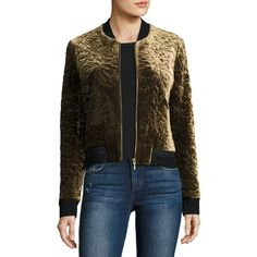 Elie Tahari Brandy Quilted Velvet Bomber Jacket ($568) ❤ liked on Polyvore featuring outerwear, jackets, multi, slim jacket, flight jacket, slim fit jackets, cropped jacket and brown cropped jacket