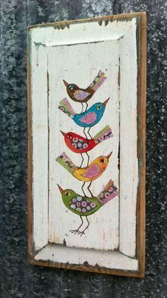 Aves de fantasía Original técnica mixta sobre madera