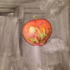 Some representational #watercolor work #nofilter #apple #dark #challenge