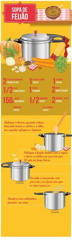 sopinha de feijão Menu Dieta, Cooking Recipes, Healthy Recipes, Portuguese Recipes, Happy Foods, Food Illustrations, Food Hacks, Food Inspiration, Love Food