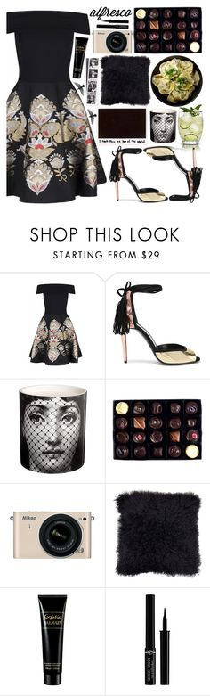 """Untitled #229"" by fjannah ❤ liked on Polyvore featuring Ted Baker, Pierre Hardy, Fornasetti, Rococo Chocolates, Nikon, Balmain and Giorgio Armani"