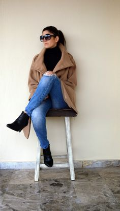 #thevirgostyle #blog #greek #blogger #fashion #style #camel #coat #ripped #denim #jeans
