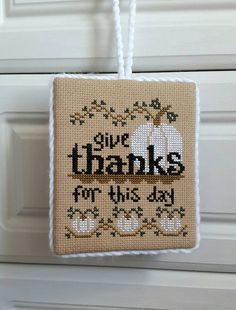 Completed cross stitch ornament Thanksgiving day home decor