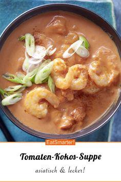sopa de tomate e coco - Suppen & Eintopf Rezepte - Low Carb Recipes, Soup Recipes, Healthy Recipes, Cheap Recipes, Lunch Recipes, Clean Eating, Healthy Eating, Coconut Soup, Asian Recipes