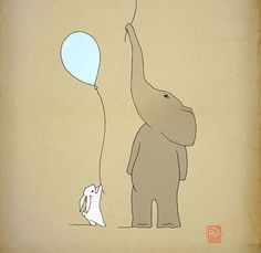 Elephant and bunny illustration, nursery poster 12x16 children room wall art