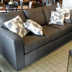 Gray couch! - love the pillows too I think I am going to paint my couch!