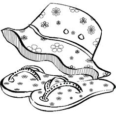 Free Coloring Pages Summer Coloring Pictures, Summer Coloring Pages, Free Coloring Pages, Coloring Sheets, Adult Coloring, Black And White Flip Flops, Flip Flop Images, Fireworks Art, Red Images