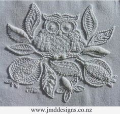 JMD Designs Home - Janet M. Davies - New Zealand - Free Mountmellick Tutorial- Needlework, Quilting and Applique Owl White Embroidery, Embroidery Thread, Cross Stitch Embroidery, Embroidery Patterns, Machine Embroidery, Embroidery Sampler, Art Du Fil, Bordados E Cia, Contemporary Embroidery