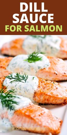The best and easy dill sauce for salmon with mayo, sour cream, chopped onion, lemon juice, horseradish, dill, garlic salt, and pepper is combined in this creamy, delicious sauce. This is a flavorful sauce for salmon that will take it to another level. Whether you pan-sear, grill , or bake salmon your favorite way - just spoon some of this dill sauce on your fillets to have your taste buds dancing. You'll love this recipe! * Homemade Sauce Recipe Seafood Soup Recipes, Sauce Recipes, Crockpot Recipes, Cooking Recipes, Salmon Recipes, Fish Recipes, Greek Recipes, Dill Sauce For Salmon, Homemade Sauce