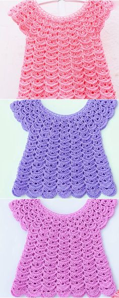 Crochet Baby Girl fast and easy baby dress Baby Girl Crochet, Crochet Baby Clothes, Crochet For Kids, Easy Crochet, Knit Crochet, Crochet Baby Dresses, Booties Crochet, Crochet Hats, Baby Dress Patterns