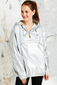 K-Way Leon Classic Cagoule in Silver