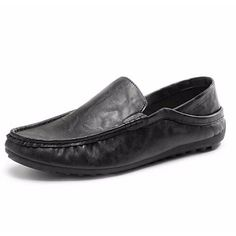 bfbf400837d Men Leather Slip On Mens Driving Moccasin Loafer Casual Soft Comfortable  Flats Shoes
