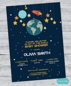 Space Baby Shower Invitation, Outer Space Shower, Rocket Birthday, Space Party, Planet Birthday Invitation, Space Birthday, Digital File by FlairandPaper on Etsy