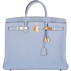 HERMES BIRKIN BAG BLUE LIN 40cm WITH GOLD HARDWARE NEW COLOR ❤ liked on Polyvore