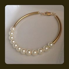 Custom Gold Bracelet - Noodle Tube and Swarovski Pearls Bracelet - 14k Gold Filled Tube and Clasp - Dainty Curved Bracelet - 2 Lateral Tubes