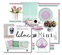 """""""lilac and mint"""" by kari-c ❤ liked on Polyvore featuring interior, interiors, interior design, home, home decor, interior decorating, Pier 1 Imports, Dibbern, Surya and Golden Edibles"""