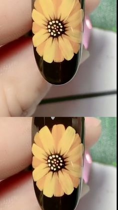 Hand-painted double glazed chrysanthemum🌼🌼 nail creative Handbemalter doppelt glasierter Chrysanthemennagel kreativ Kunst This image has get Nail Art Designs Videos, Nail Design Video, Nail Art Videos, Nail Art Tutorials, Nails Design, Nail Art Hacks, Gel Nail Art, Nail Art Diy, Diy Nails