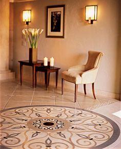 Mosaic tile floor for entryway
