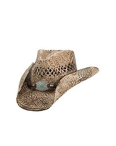 64185b161c1 Dorfman Pacific Toasted Straw with Turquoise Concho Band Fashion Cowboy Hat  Western Hats