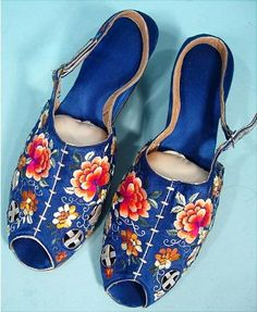 1930s Electric Blue Silk Satin Embroidered Fancy Boudoir Peep Toe Slippers, made in China.