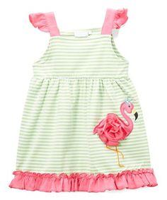 Green Stripe Appliqué Flamingo A-Dress - Infant, Toddler & Girls #zulily #zulilyfinds