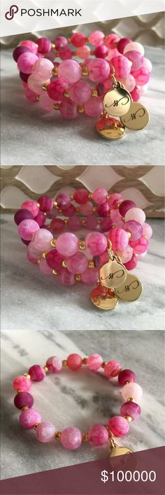 COMING SOON LIKE TO BE NOTIFIED- Pink Crackle Stacking Bracelet. Pink dyed crackle agate, premium gold seed beads, finished with Simple Sanctuary 18k gold layered charm. Simple Sanctuary Jewelry Bracelets