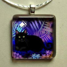 BLACK CAT NIGHT garden 1 inch glass tile pendant ... free chain. $28.00, via Etsy.