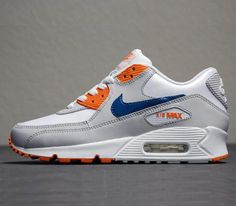 Nike Air Max 90-Natural Grey-Shaded Blue-Mandarin
