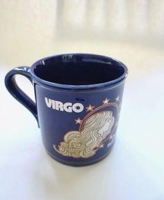 Vintage Virgo Mug Kiln Craft England Cobalt Blue and Silver Pottery NOS Virgo Cup August 22 to September 22 Jackpot Jen by JackpotJen on Etsy