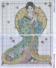 0 point de croix femme asiatique et papillons - cross stitch asian lady and butterflies