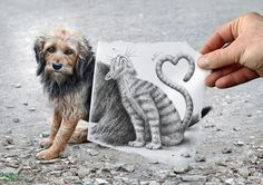 Ben Heine, pencil drawings + photography, amazing!