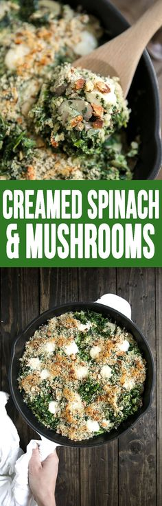 Easy Creamed Spinach and Mushrooms is a healthy delicious dinner choice!