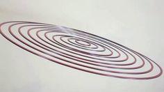 Circuconcéntricos blanco y rojo (2013). Dibond. 100 cm diameter. © Elias Crespin.