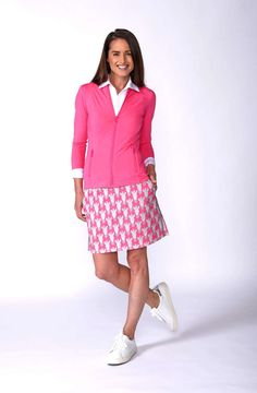 Golftini Ladies Animal Print cotton stretch skort with hot pink stretch fabric and zebra head patterns