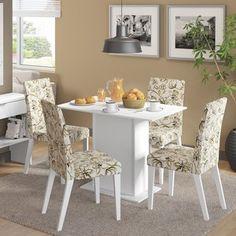 Conjunto para Sala de Jantar Mesa e 4 Cadeiras Luna Madesa Branco/ Lírio Bege