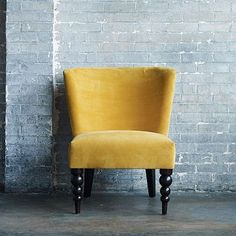 This is a darling accent chair, perfect for small seating areas.  Veronica Turned Leg Chair from #westelm
