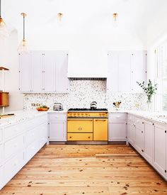 The perfect kitchen does not exi. We can't get enough of these subtle lilac cabinets against an even more subtle terrazzo tile. It's a bit of a color explosion, but we're into it. // Design by and // by Home Decor Inspiration, Interior Design Inspiration, Interior Design Yellow, Kitchen Dining, Kitchen Decor, Timber Kitchen, Buy Kitchen, Kitchen Tools, Kitchen Ideas