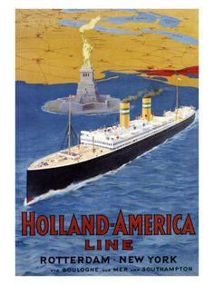 Holland-America Line - Rotterdam to New York This Company was formed in 1873. It carried cargo and later added a cruise division.
