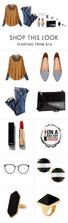 """red lipstick"" by havens ❤ liked on Polyvore featuring beauty, H&M, Citizens of Humanity, Chanel, Linda Farrow, Kate Spade, Jaeger, Kenneth Jay Lane and CLUSE"
