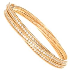 Cartier Trinity Diamond 3 band Bracelet | From a unique collection of vintage bangles at https://www.1stdibs.com/jewelry/bracelets/bangles/