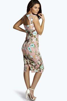 Ivy Floral Print Sweetheart Midi Bodycon Dress 8730bd2c4