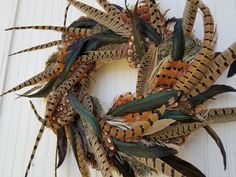 Rooster and Pheasant Feather Wreath 22 Inch Size Feather Wreath, Wire Wreath, Carved Eggs, Hand Carved, Speckled Eggs, Pheasant Feathers, Victorian Lace, Summer Street, Seasonal Decor
