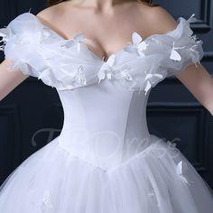 Off Shoulder Ruffles Cinderella White Tulle Ball Gown Wedding Dress – … - Wedding Dress Disney Wedding Dresses, Disney Princess Dresses, Cinderella Dresses, Cute Wedding Dress, Disney Dresses, Princess Wedding Dresses, Dream Wedding Dresses, Bridal Dresses, Wedding Gowns