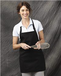 """Chef Designs - Short Premium Bib Apron - TT32  View Size Specification  Catalog Page: 526  An easy-going style that provides more freedom of movement for servers or other workers.        7.5 oz., 65/35 polyester/cotton      Soil release finish      Adjustable neck strap with plastic buckle, side ties      Three-section front pouch pocket      Size: 28"""" x 24"""""""