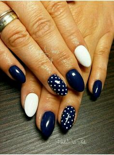 Neat Dotted Navy and White Nail Art add one red dot and it would be really cute for 4th of July
