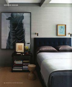 BEDROOM Large art + ceiling + grasscloth + color palette #modern #interior design | International Architecture and Design