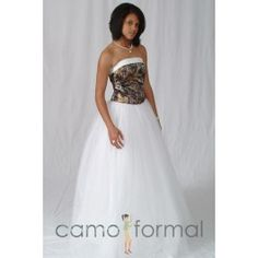 I can see one of my girls wearing this white and camouflage wedding dress one day! Pink Camo Wedding Dress, Camouflage Wedding Dresses, Camo Dress, Sexy Wedding Dresses, Wedding Dress Styles, Wedding Gowns, Bridesmaid Dresses, Formal Dresses, Prom Dresses