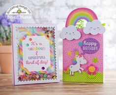 Fairy Tales Collection: Rainbows & Unicorn Creative Cards by Brigit Mann Cricut Birthday Cards, Creative Birthday Cards, Unicorn Birthday Cards, Birthday Card Design, Kids Birthday Cards, Cricut Cards, Creative Cards, Unicorn Cards, Birthday Sayings