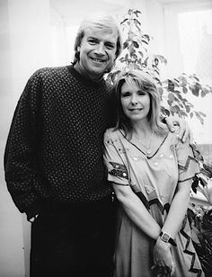 Annie Haslam with Justin Hayward (Moody Blues) at the studio while recording 'The Angels Cry' for her self titled Epic Records album released 1989.