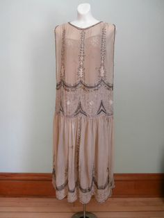 Vintage 1920's Flapper Dress Underslip Beads Sequins Downton Abbey Gatsby As Is | eBay!